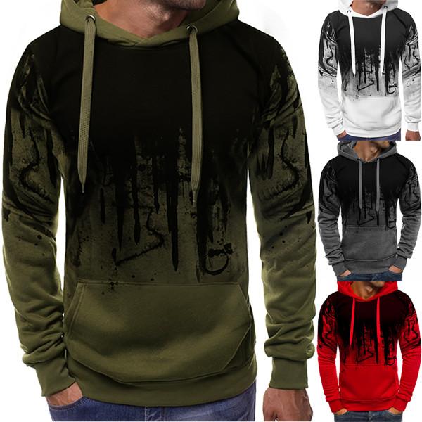 Mens Long Sleeve Casual Hoodies Sweatshirt Pullover Jumper Top Grey XL
