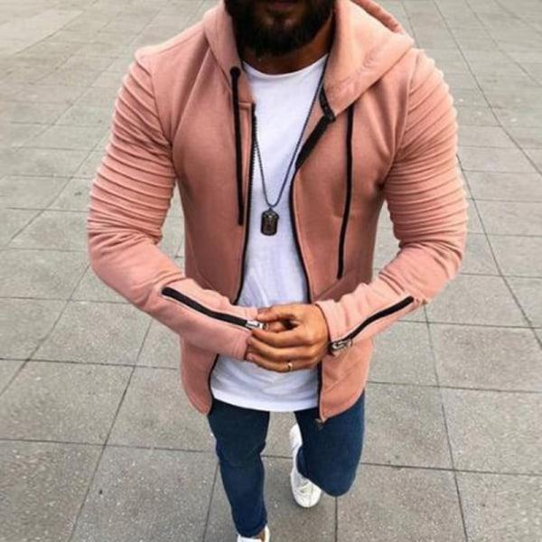 Herr Långärmad Zip Up Jacka Coat Winter Warm Sweatshirt Top Pink 5XL