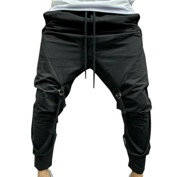 Mens Trousers Jogger Lace-Up Hippie Sports Casual Harem Pants Grey M