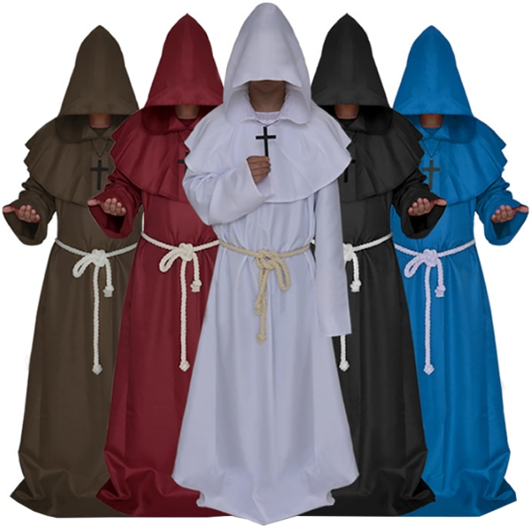 Party Anime Cosplay Costumes Sets Medieval Monk Clothes Long Blue XL
