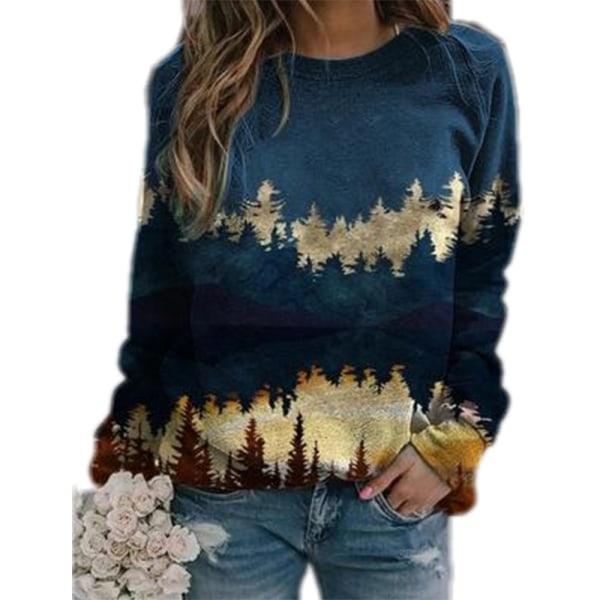 Plus Size Women Landscape Print Loose Hoodie Sweatshirt Long Blue L