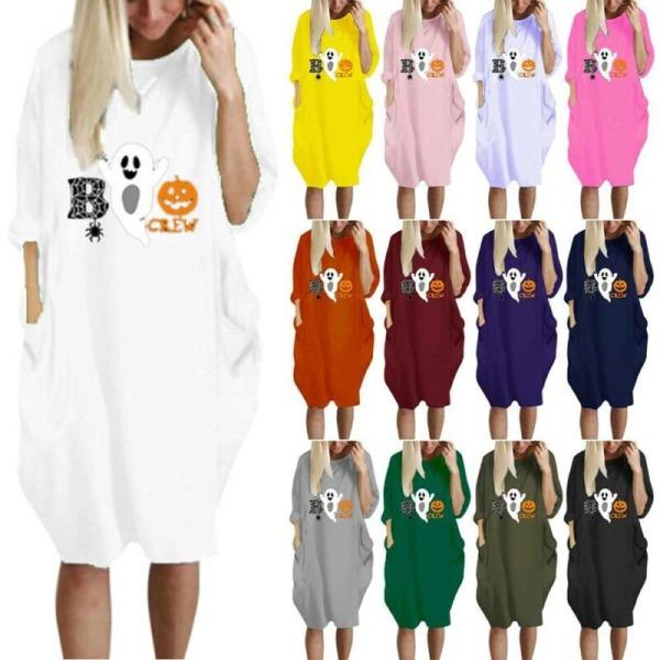 Halloween-tryckt T-shirt klänning för kvinnor Loose Casual