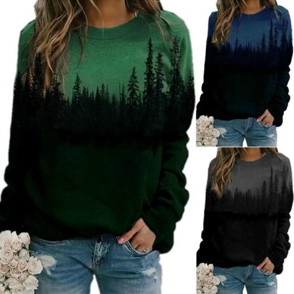 Plus Size Womens Printed Loose Hoodie Sweatshirt Long Sleeve Green 3XL