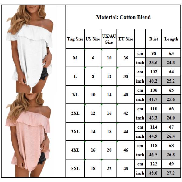 Plus Size Womens sommar Off Shoulder kortärmad blus T-shirt