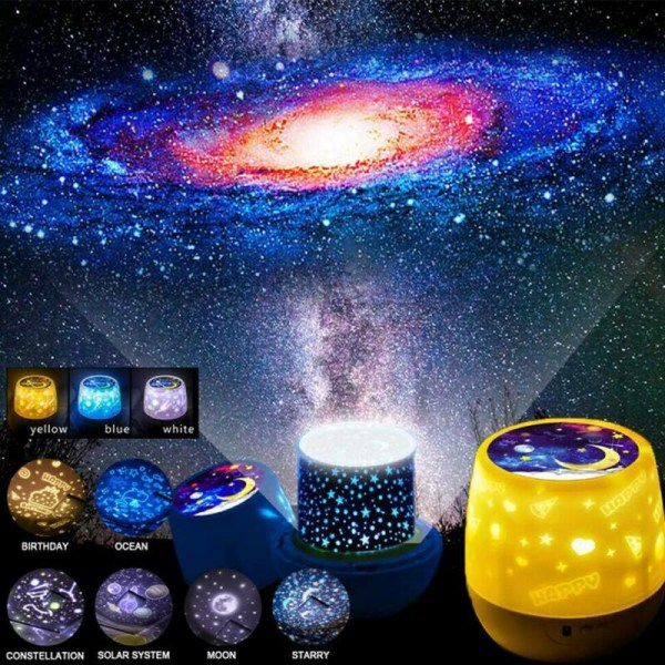 Rotating LED Light Projector Star Moon Sky Night Mood