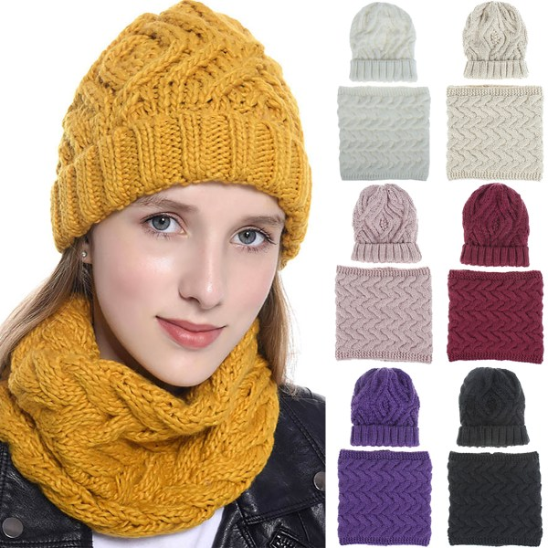 Scarf + Hats Soft Stretch Cable Knit Warm Fuzzy Lined Beanie Yellow