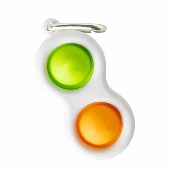Sensory Simpl Dimpl - Key Ring - Desk Toys for Ages 5 to 12 Green - Orange