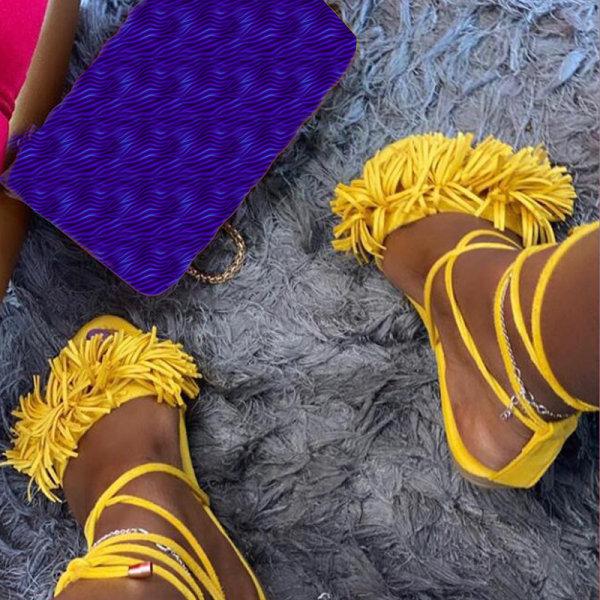 Stylish Kvinnor Fringe Tassel Bandage Shoes Yellow 42