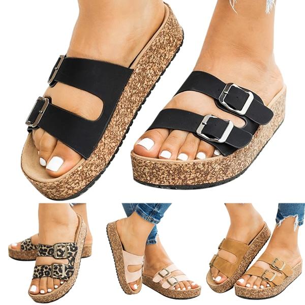 Summer Anti-slip Buckle Sandals Black 39