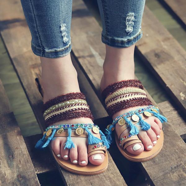 Summer Fashion Women Bohemian Flat Sandals Clip multicolor 43