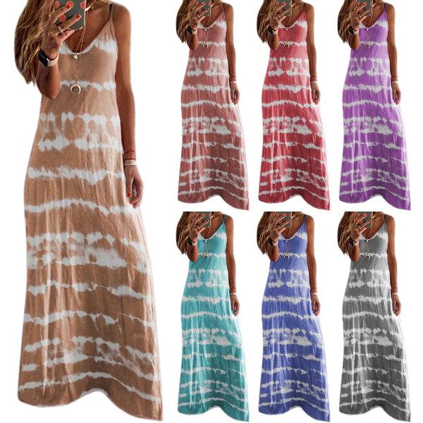 Tie-dye Stripe Print Kvinnor V-neck Strap Dress