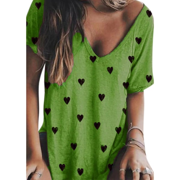 Hjärttryck med V-ringning Kvinnor lösa T-shirts Green 2XL