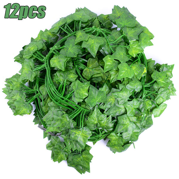 12: e Vägghängda Växter Leaf Vine Greenery Artificial Blomma 12 PCS