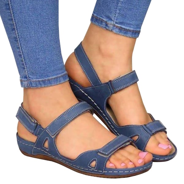 Woman 2020 Summer Leather Vintage Sandals Buckle Blue 38
