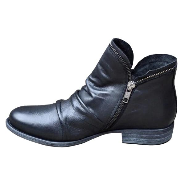 Woman Ladies Winter Round Toe Low-heel Martin Boots Black Boots Black EU 38