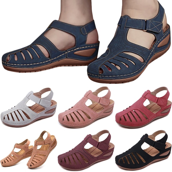 Woman Summer Leather Vintage Sandals Retro Shoes Pink 39