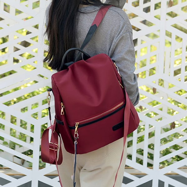 Women Bags Fashionable Backpack School Outdoors Large-capacity Wine-Red
