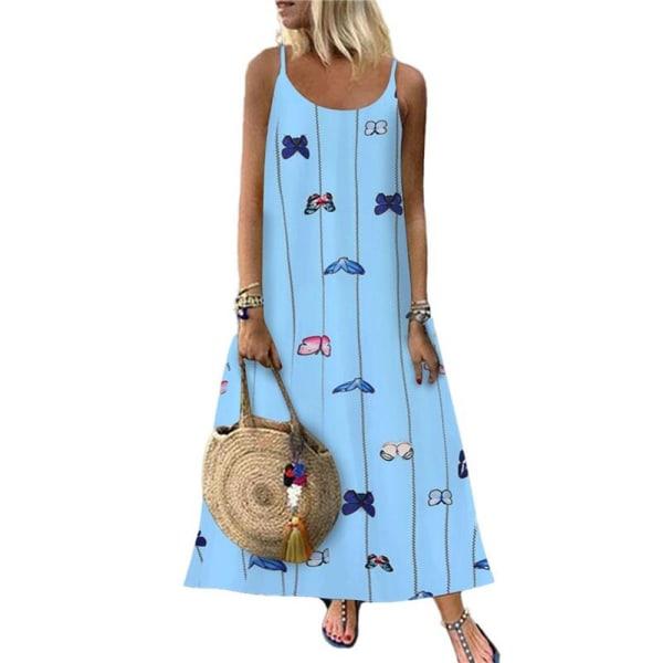 Kvinnors blommiga fjärilsprint Sling Maxiklänning Casual Holiday Blue S