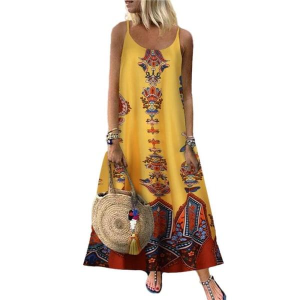 Kvinnors blommiga fjärilsprint Sling Maxiklänning Casual Holiday Yellow Butterfly L