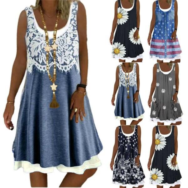 Kvinnor blommig rund hals ärmlös klänning sommar Baggy Tank klänning Dark Blue S