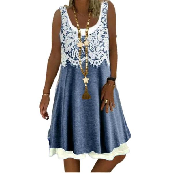 Kvinnor blommig rund hals ärmlös klänning sommar Baggy Tank klänning White 4XL