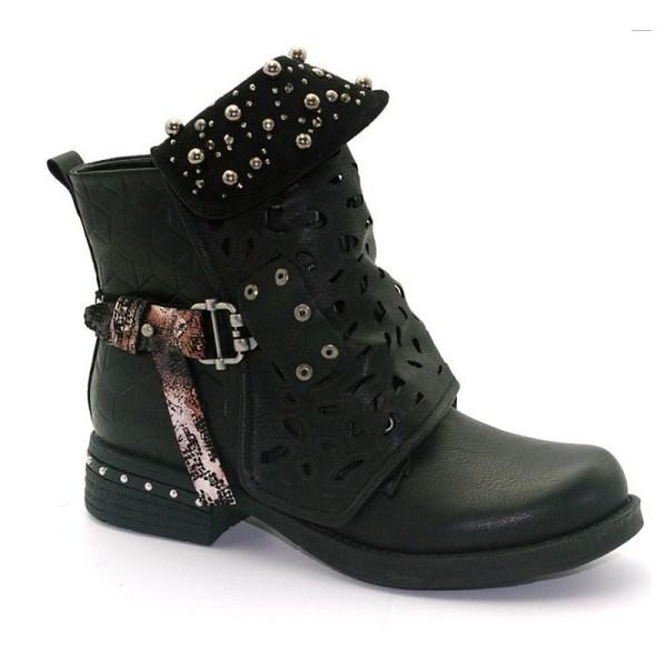 Kvinnor Gothic Punk Leather Ankelstövlar Cowboy Stövlar Sko Svart