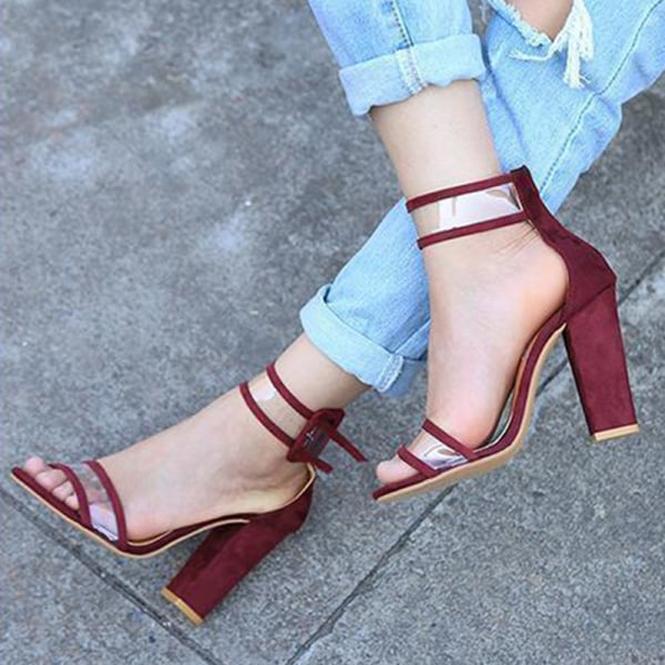 Women High Square Heels Sandals New Open winered 43