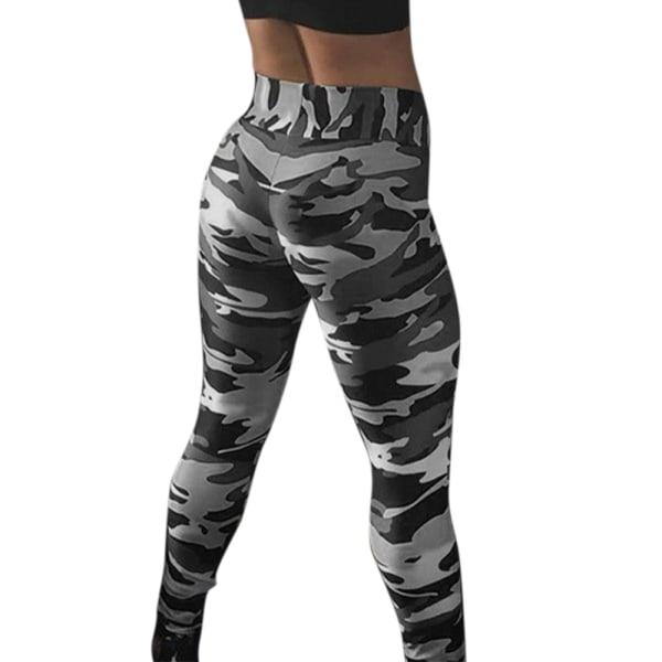 Kvinnor Hög midja Leggings Camo Yoga byxor byxor grå