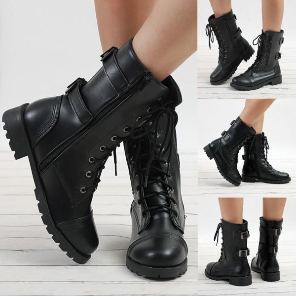Dam Dam Outdoor Boots Belt Buckle Zipper Bootie Shoes