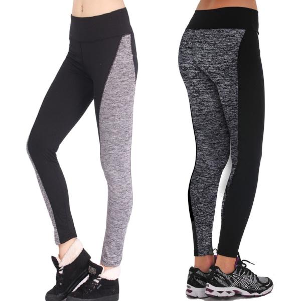 Women Mesh Splicing Leggings Tummy Control Workout Yoga Pants Grey M