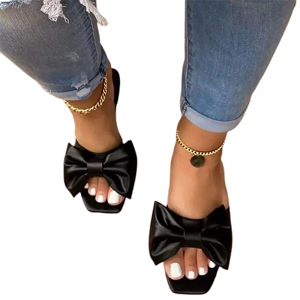 Kvinnor Mules Slip On Sandaler Bow Summer Comfy Skor Svart