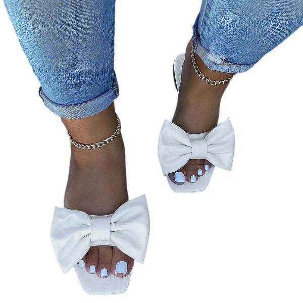 Kvinnor Mules Slip On Sandaler Bow Summer Comfy Skor Vit