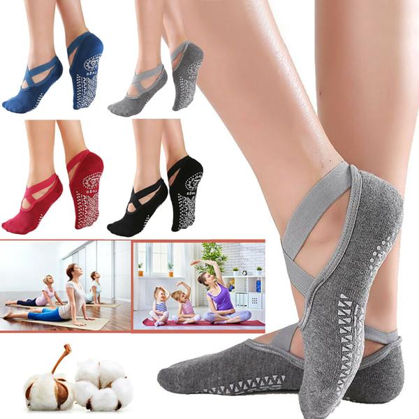 Women Pilates Barre Yoga Socks Dance Gym Fitness Red 1 pair