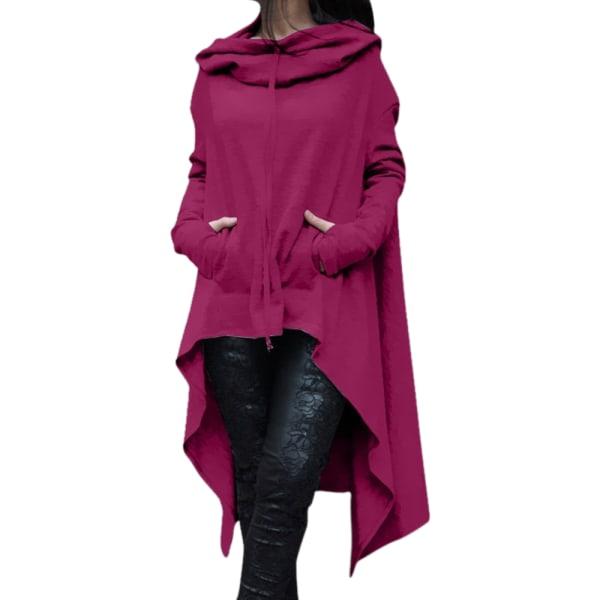 Women Pullover Loose Ladies Hooded Sweatshirt Blouse Long Sleeve Rose Red 3XL