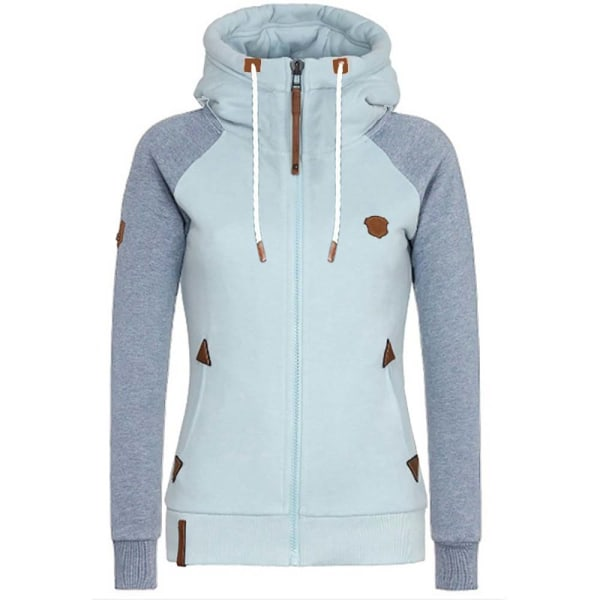 Women's Casual Zip Up Hoodies Coat Sweatshirt Long Sleeve Hooded Blue 4XL