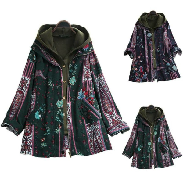 Women's Retro Hooded Vest Floral Coat Set Winter Jacket Coats Navy Blue L
