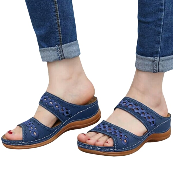 Women Sandals Fashion Wedges Shoes Sandals Flip Flop Blue 38