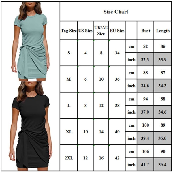Kvinnors kortärmad t-shirt miniklänning sommar bodycon sundress Green M