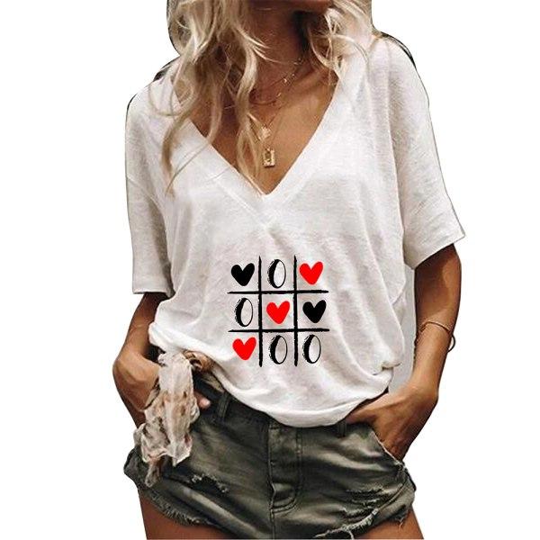 Kvinnor kortärmad V-ringning Toppar T-shirt Sommar Casual blus T-shirt