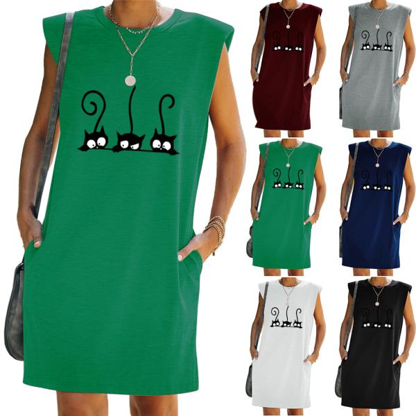 Kvinnor ärmlös T-shirt klänning lös tunika tank väst sundress Black L
