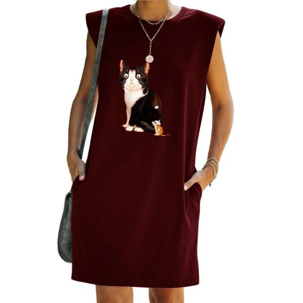 Kvinnor sommar katt tryckt T-shirt klänning ärmlös tank klänningar Wine Red XL