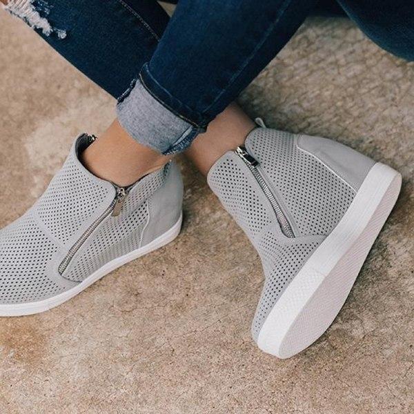 Women Summer Mesh Breathable Zipper High heel Brown 36
