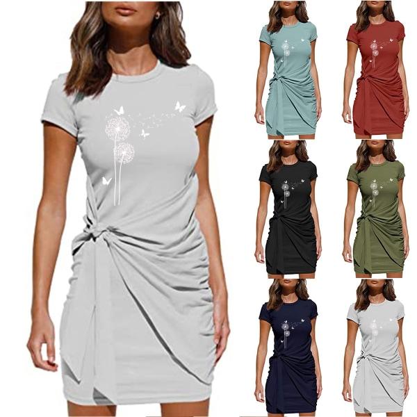 Kvinnor Sommar Mini T-shirt Klänning Kortärmad Casual Sundress Blue L