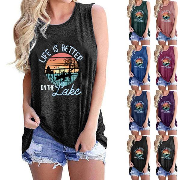 Kvinnor sommartryckt ärmlös T-shirtblus med linne