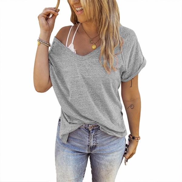 Kvinnor V-ringad kort ärm T-shirt Casual Solid blus