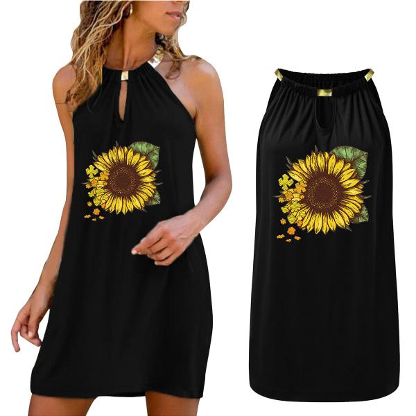 Kvinnor Solros Print Ärmlös Sexig kort kort klänning Black L
