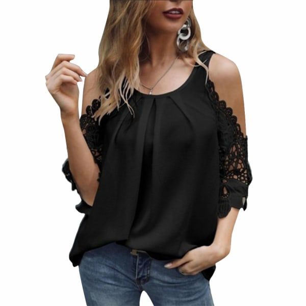 Kvinnor T-shirt korta casual toppar blus 3/4 spetsärmad tunika