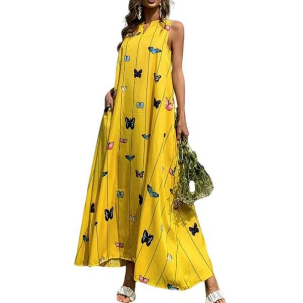 Dam V-ringad fjärilsväst Tankklänning Sommarstrand sundress Yellow XL