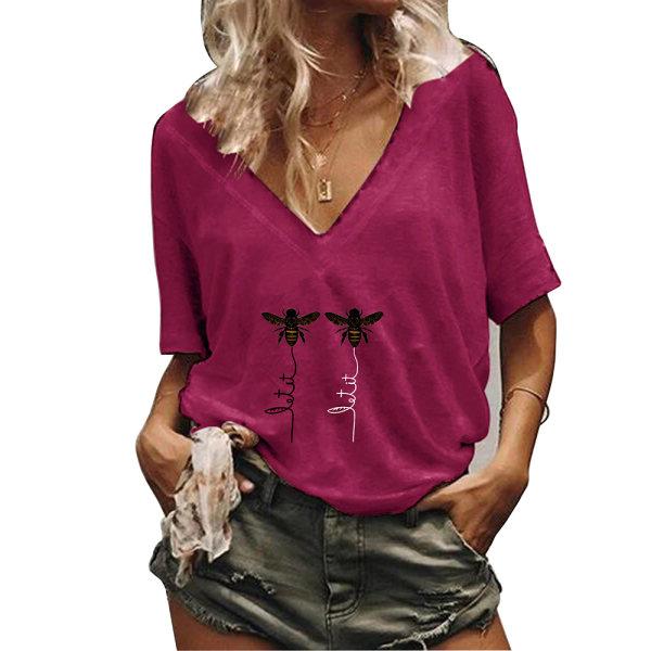 Kvinnor V-ringad kortärmad sommar-t-shirt Bee Fritids Basic Tops