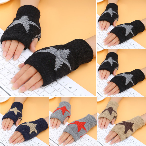 Women Winter Half Finger Gloves Arm Hand Warmer Knitted Mittens Grey
